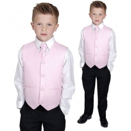 Boys Diamond Pink & Black 4 Piece Waistcoat Suit