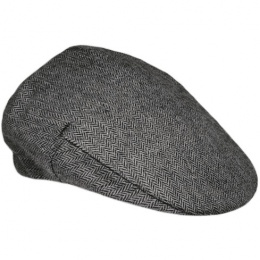Boys Grey Tweed Herringbone Flat Cap