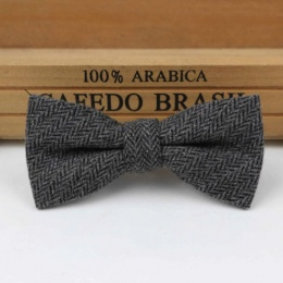 Boys Grey Herringbone Wool Bow Tie with Adjustable Strap