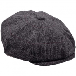 Boys Grey Tweed Wool Baker Boy Cap