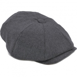 Boys Grey Wool Baker Boy Cap