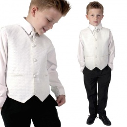 Boys Diamond Ivory & Black 4 Piece Waistcoat Suit