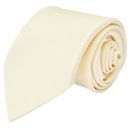 Boys Ivory Plain Satin Tie (45'')