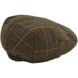 Boys Khaki Tweed Check Wool Flat Cap