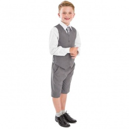 Boys Light Grey 4 Piece Shorts Suit with Tie
