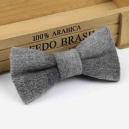 Boys Light Grey Wool Bow Tie with Adjustable Strap