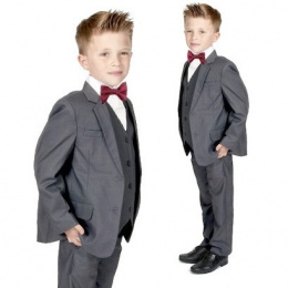 Boys Grey 5 Piece Slim Fit Bow Tie Suit