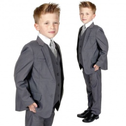 Boys Grey 5 Piece Slim Fit Suit