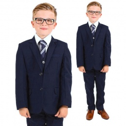 Boys Navy 5 Piece Slim Fit Suit