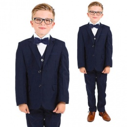 Boys Navy 5 Piece Slim Fit Bow Tie Suit