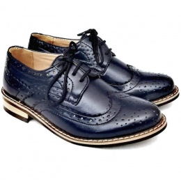 Boys Navy Brogue Derby Pointed Shoes