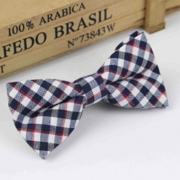Boys Navy Check Dickie Bow with Adjustable Strap