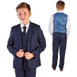 Boys Navy Check & Blue Paisley 5 Piece Slim Fit Suit