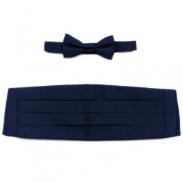 Boys Navy Satin Cummerbund and Dickie Bow Tie Set