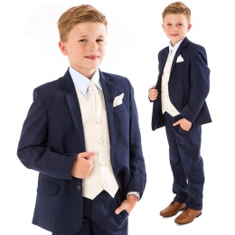 Boys Navy & Ivory Deluxe Swirl 6 Piece Slim Fit Suit
