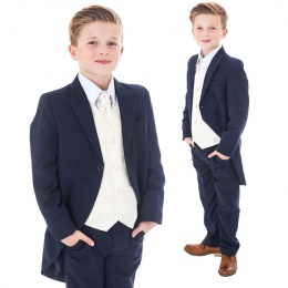 Boys Navy & Ivory Deluxe Swirl 8 Piece Tail Suit