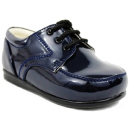 Boys Navy Patent Formal Lace Up Shoes