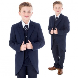 Boys Navy 5 Piece Slim Fit Tail Jacket Suit
