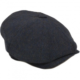 Boys Navy Tweed Wool Baker Boy Cap