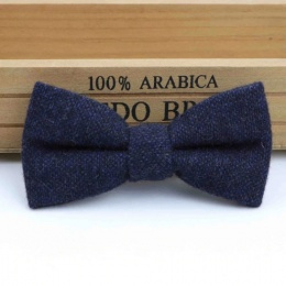 Boys Navy Tweed Wool Bow Tie with Adjustable Strap