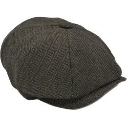 Boys Olive Tweed Wool Baker Boy Cap