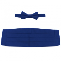 Boys Royal Blue Satin Cummerbund and Dickie Bow Tie Set