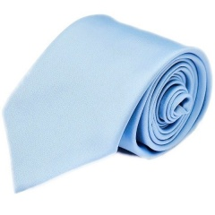 Boys Sky Blue Plain Satin Tie (45'')