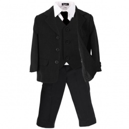 Boys Black 5 Piece Formal Jacket Suit