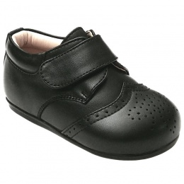 Boys Brogue Black Matt Velcro Shoes