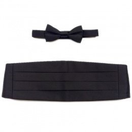 Boys Black Satin Cummerbund and Dickie Bow Tie Set