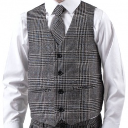 Boys Black Tartan Tweed Look Waistcoat with Blue Check
