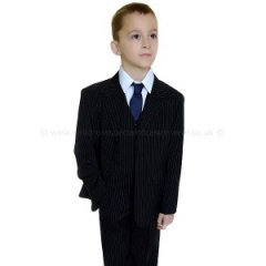 Boys Black & White Pinstripe 1st Holy Communion Suit