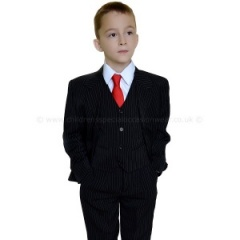 Boys Black & White Pinstripe 5 Piece Communion Suit