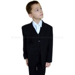 Boys Black & White Pinstripe Holy Communion Suit