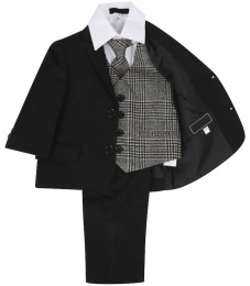Boys Black & Tweed Blue Check 5 Piece Slim Fit Suit