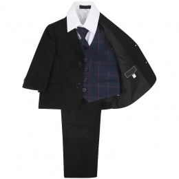 Boys Black & Navy Check 5 Piece Slim Fit Suit