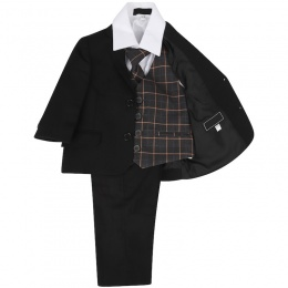 Boys Black & Grey Check 5 Piece Slim Fit Suit