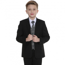 Boys Black & Tartan Tweed Blue Check 5 Piece Suit