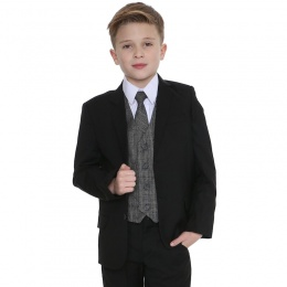 Boys Black & Tartan Tweed Orange Check 5 Piece Suit