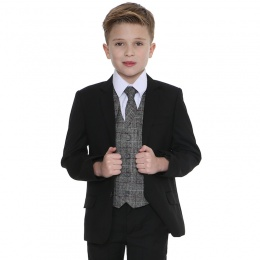 Boys Black & Tartan Tweed Red Check 5 Piece Suit