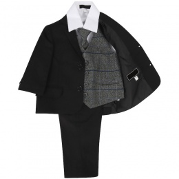Boys Black & Grey Tweed Check 5 Piece Slim Fit Suit