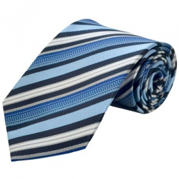 Boys Blue Striped Satin Full Tie