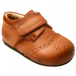 Boys Brogue Brown Tan Velcro Shoes