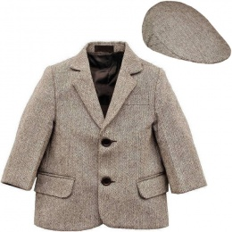 Boys Brown Tweed Herringbone Jacket & Flat Cap