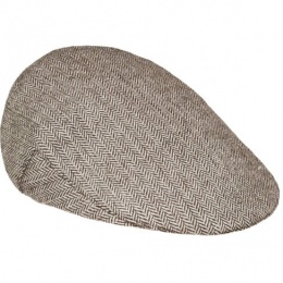 Boys Brown Tweed Herringbone Flat Cap