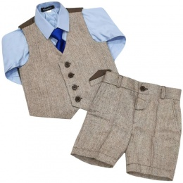 Boys Brown Tweed Herringbone 4 Piece Shorts Suit