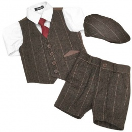 Boys Brown Tweed Check Shorts Suit with Cap
