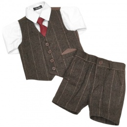Boys Brown Tweed Check 4 Piece Shorts Suit