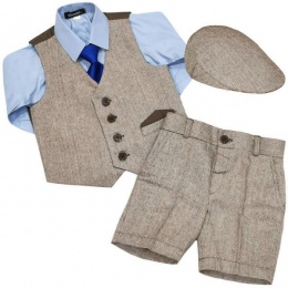 Boys Brown Tweed Herringbone Shorts Suit with Cap