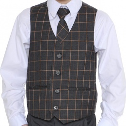 Boys Grey & Orange Check Waistcoat Set